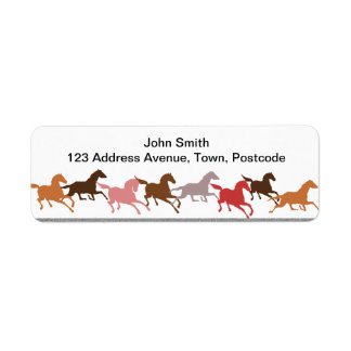 Wild horses running return address label
