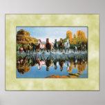 Wild horses running through water print