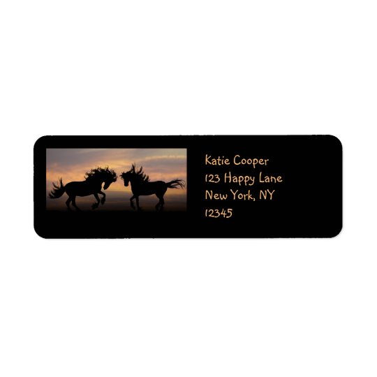 Wild Horses Silhouette Return Address Label