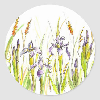 Wild Iris Purple Wildflower Watercolor Sketch Classic Round Sticker