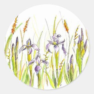 Wild Iris Purple Wildflower Watercolor Sketch Round Sticker