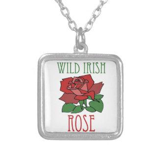 Wild irish Rose Square Pendant Necklace