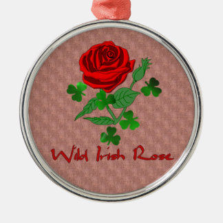 Wild Irish Rose Silver-Colored Round Decoration
