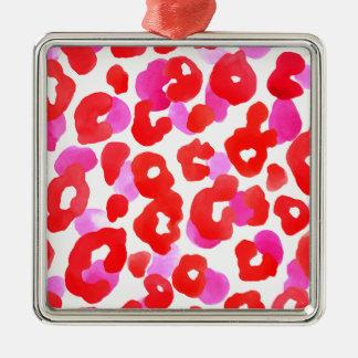 Wild jaguar ethno  Red love Metal Ornament