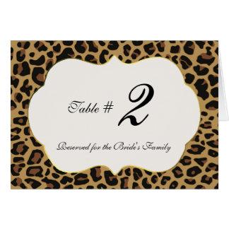 Wild Jaguar Pattern Wedding Table Number