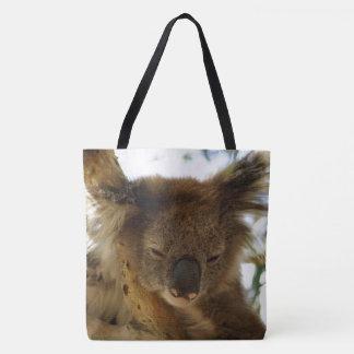 Wild koala sleeping on eucalyptus, Photo All Over Tote Bag