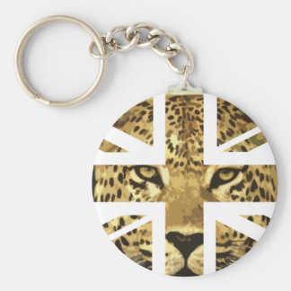 Wild Leopard Face Jack British(UK) Flag Keychains