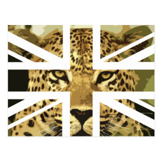 Wild Leopard Face Jack British UK Flag Post Card