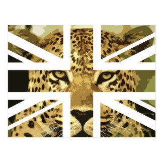 Wild Leopard Face Jack British(UK) Flag Postcard