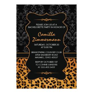 Wild Leopard Fancy Damask Bachelorette Party Invites