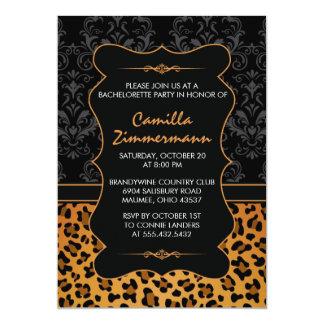 Wild Leopard & Fancy Damask Bachelorette Party Invites