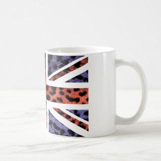 Wild Leopard Fur Pattern Jack British(UK) Flag Coffee Mug