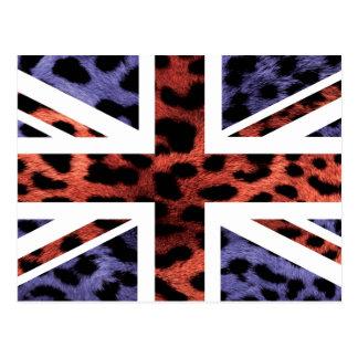 Wild Leopard Fur Pattern Jack British(UK) Flag Postcard