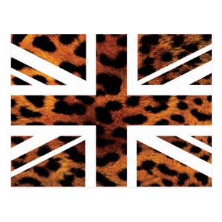 Wild Leopard Fur Pattern Jack British(UK) Flag Post Cards