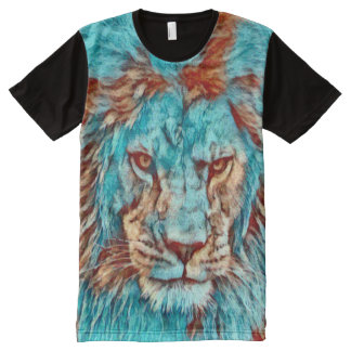 Wild Lion Blues Era Artwork Graphic Tee All-Over Print T-Shirt