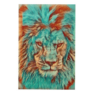Wild Lion Blues Era Artwork Wood Canvas
