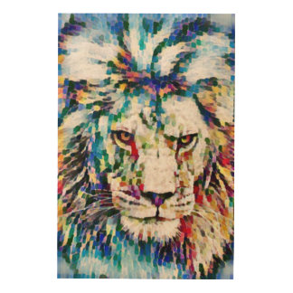 Wild Lion Impressionist Acrylic Wildlife Art Wood Canvases