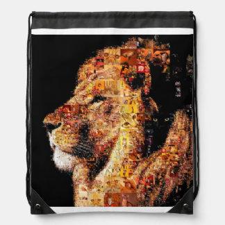Wild lion - lion collage - lion mosaic - lion wild drawstring bag