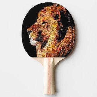 Wild lion - lion collage - lion mosaic - lion wild ping pong paddle