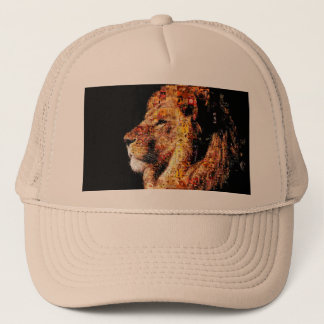 Wild lion - lion collage - lion mosaic - lion wild trucker hat