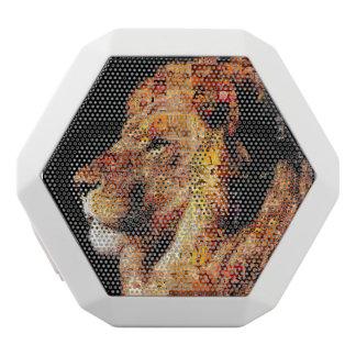 Wild lion - lion collage - lion mosaic - lion wild white bluetooth speaker