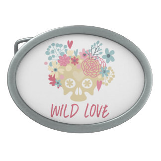 Wild Love Flowers Oval Belt Buckle