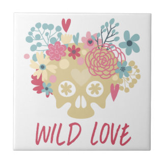 Wild Love Flowers Small Square Tile