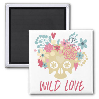 Wild Love Flowers Square Magnet