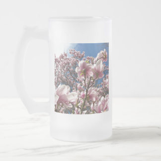 Wild magnolia 02 frosted glass beer mug