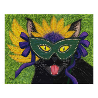 Wild Mardi Gras Cat Party New Orleans Mask Art Pri Poster