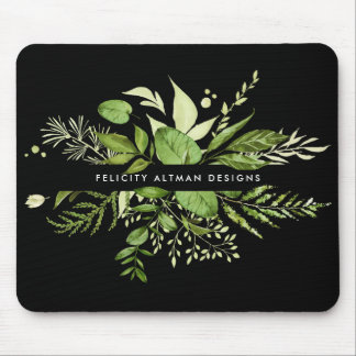Wild Meadow | Black & Green Botanical Personalized Mouse Pad
