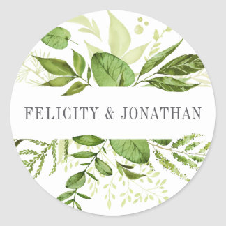 Wild Meadow | Green Botanical Wedding Round Sticker