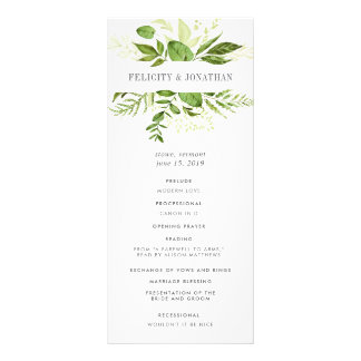 Wild Meadow Wedding Ceremony Program Personalised Rack Card