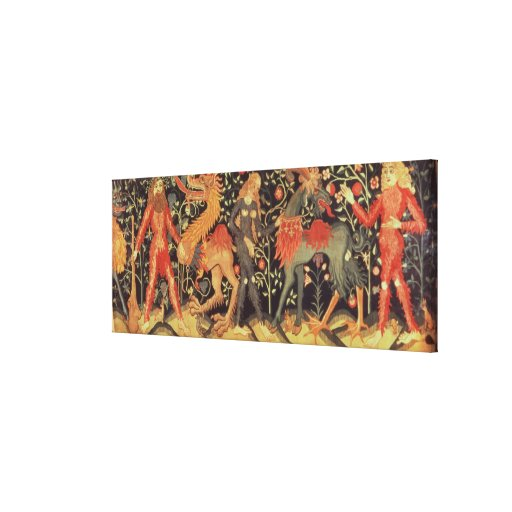 Wild Men and Animals, tapestry, 15th century Stretched Canvas Prints