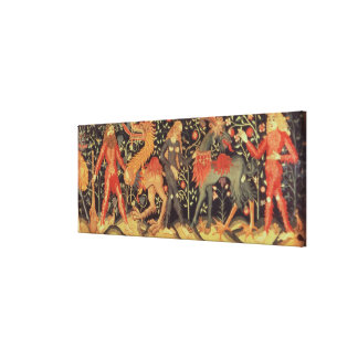 Wild Men and Animals, tapestry, 15th century Gallery Wrap Canvas