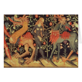 Wild Men and Animals, tapestry, 15th century Greeting Card