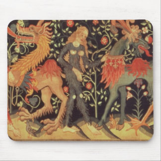 Wild Men and Animals, tapestry, 15th century Mousepad