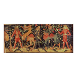 Wild Men and Animals, tapestry, 15th century Poster