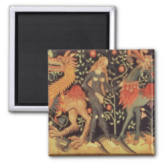 Wild Men and Animals, tapestry, 15th century Square Magnet
