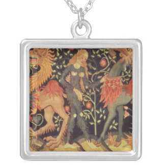 Wild Men and Animals, tapestry, 15th century Square Pendant Necklace