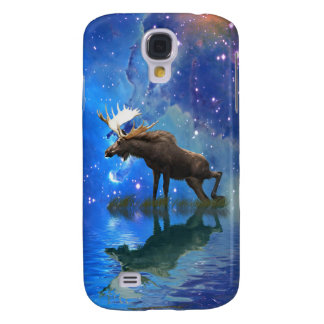 Wild Moose and Full Moon Wildlife Samsung Galaxy S4 Case