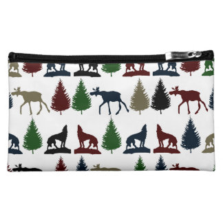 Wild Moose Wolf Wilderness Mountain Cabin Rustic Cosmetics Bags