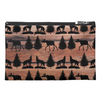 Wild Moose Wolf Wilderness Mountain Cabin Rustic Travel Accessories Bag