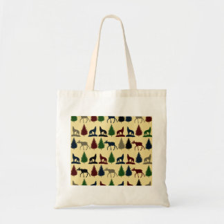 Wild Moose Wolf Wilderness Mountain Cabin Rustic Budget Tote Bag