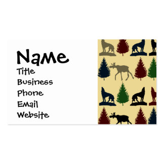 Wild Moose Wolf Wilderness Mountain Cabin Rustic Pack Of Standard Business Cards