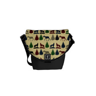 Wild Moose Wolf Wilderness Mountain Cabin Rustic Messenger Bags