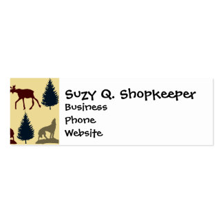 Wild Moose Wolf Wilderness Mountain Cabin Rustic Pack Of Skinny Business Cards