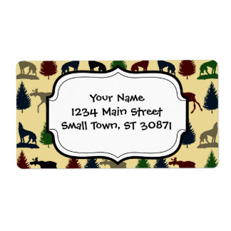 Wild Moose Wolf Wilderness Mountain Cabin Rustic Shipping Label