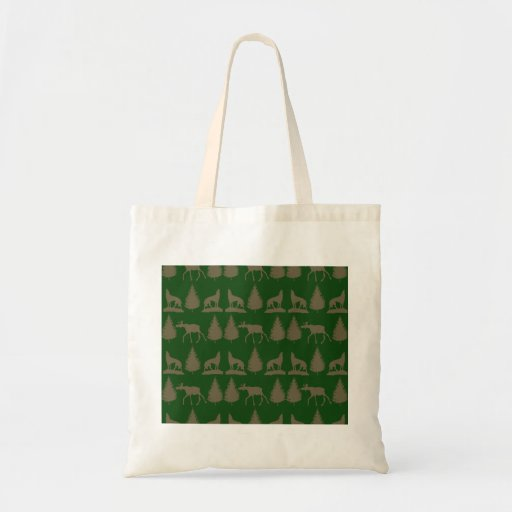 Wild Moose Wolves Pine Trees Rustic Tan Green Canvas Bag