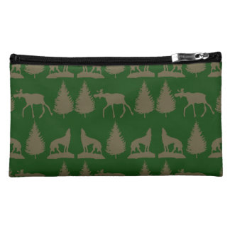 Wild Moose Wolves Pine Trees Rustic Tan Green Cosmetics Bags